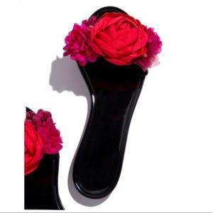 Shoes - Floral Jelly Slides - Black